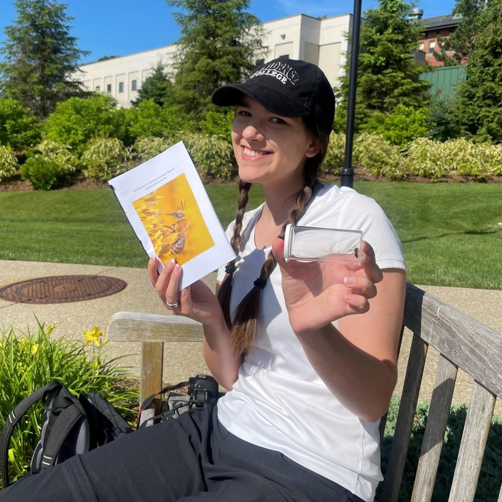 Student researcher, Alexa Pudlo, identifying bees